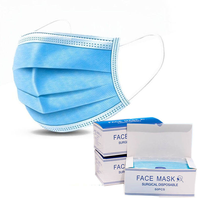 50Pcs/box Disposable Mask 3 Layers Nonwove Ply Filter Mouth Face Mask Anti-Dust Anti-Fog Meltblown Earloop Mouth Mask