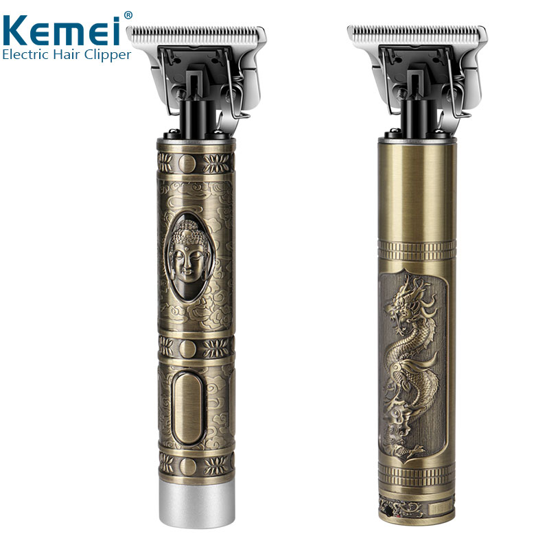Kemei KM-1974A Professional Hair Clipper Barber Hair Trimmer For Men Retro Buddha Cordless Edge Electric Hair Cutting Machine