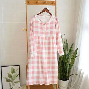 Image 2 - Womens New Double Layer Gauze Nightdress Spring Long Sleeve Simple Plaid Nightgown Plus Size Sleepwear Cotton Sleeping Dress
