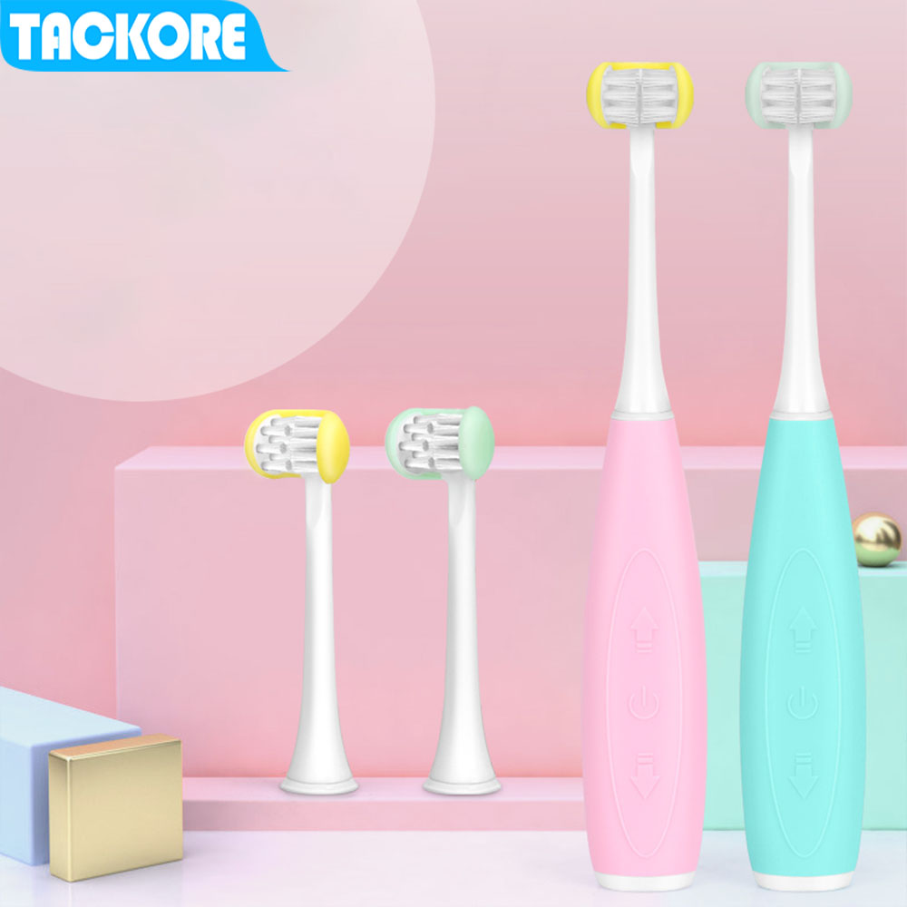 Kids Electric Toothbrush 5 Modes Children's Intelligent Acoustic Electric Toothbrush Automatic USB Charge  3 Side Heads