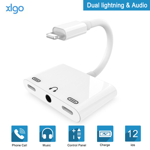 Adaptador divisor de Audio 3 en 1 para Lightning a doble luz conector auxiliar de auriculares de 3,5mm para iPhone X/XR/XS Max/8/8 P/7 P/iPad/iPod