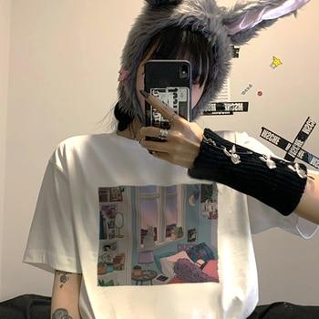 W koreańskim stylu na lato koszulka damska z krótkim rękawem bf dropshipping gothic vintage harajuku kpop ropa de mujer ubrania top drukuj punk wegańskie