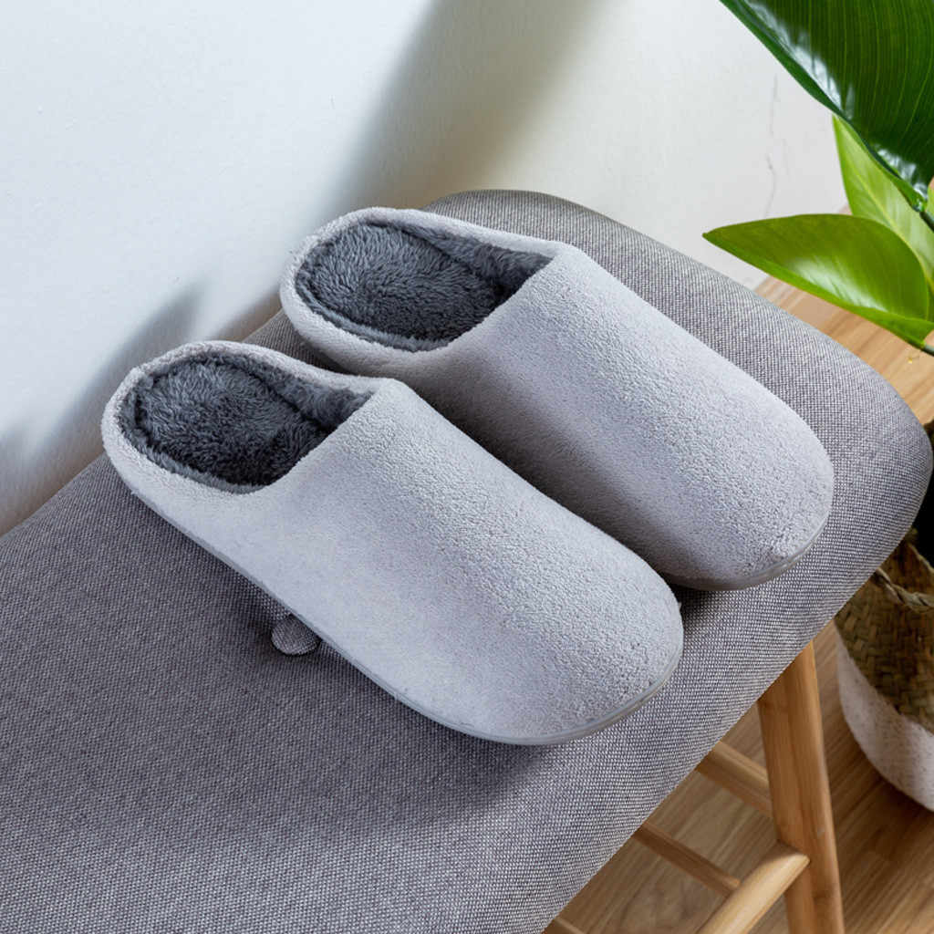 Flock Solid Thuis Slippers Mannen Winter antislip Indoor Schoenen Slaapkamer Vloer Zapatillas Casa Hombre Warm Winter Slippers Man flats