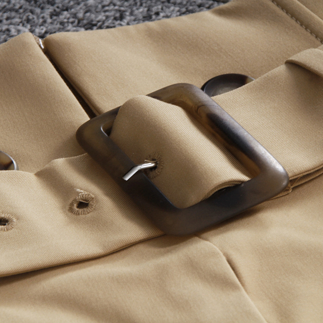 [EAM] High Waist Brown Bandage Asymmetrical Pleated Temperament Half-body Skirt Women Fashion Tide New Spring Autumn 2021 1S464 3