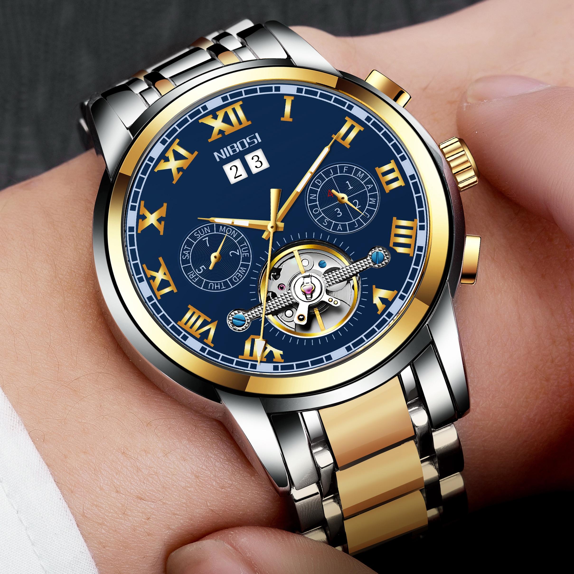 NIBOSI Mechanic Watch Top Brand Luxury Mens Watches Automatic Luxury Watch Men Sport Wristwatch mens reloj hombre Tourbillon