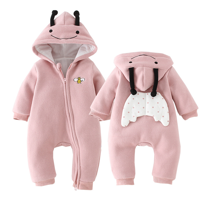 Baby Clothes Rompers Jumpsuits Newborn Cartoon Little Bee Rabbit Ears Zipper Clothes Jumpsuits Cotton Jackets Outer Jumpsuits