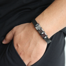 Simple Fashion New Design Version Obsidian Charm Stainless Steel Silicone Bracelet Couple Accessories