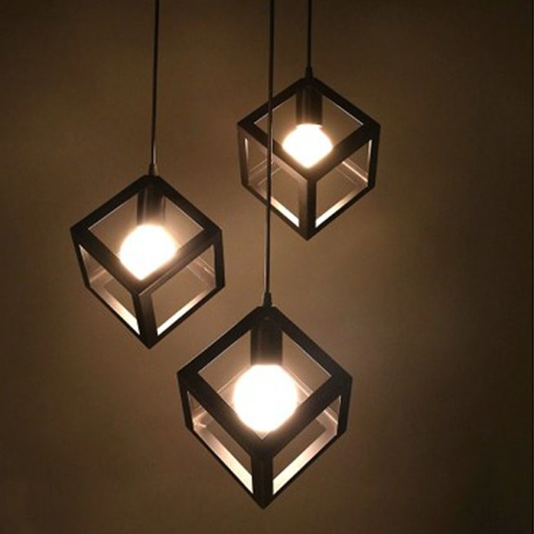 The Process Of Personality Single Head Three Head Square Restaurant Cafe Bar Iron Chandelier Decorative Lamp Industrial Lamp Pendant Lights Aliexpress