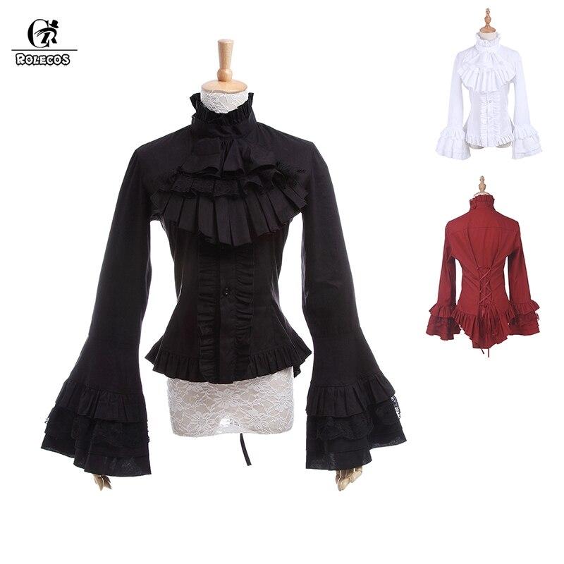 Women Pleated Shirt Frill Ruffle Blouse Top Peter Pan Collar Retro Lolita loose
