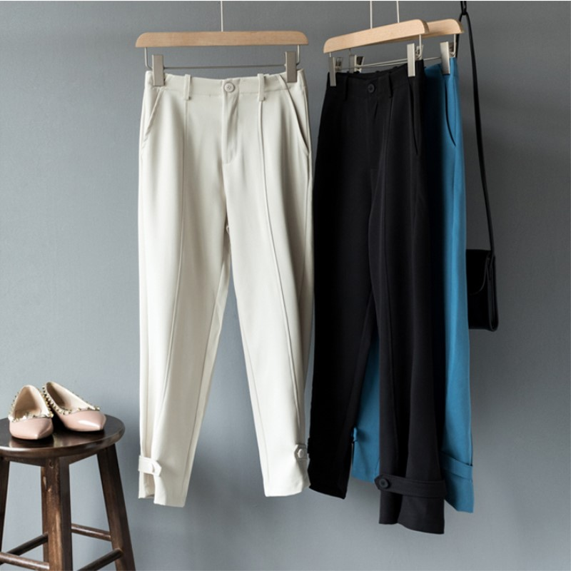 2019 fall women pencil   pant   ankle length fashion high waisted   pants   slim solid   capri   trouser high street