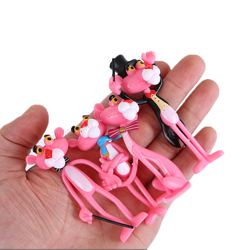 4pcs/lot Action & Toy Figures Pink Panther Cute Doll Micro Landscape Decoration Cartoon Naughty Leopard Model For Child Gift