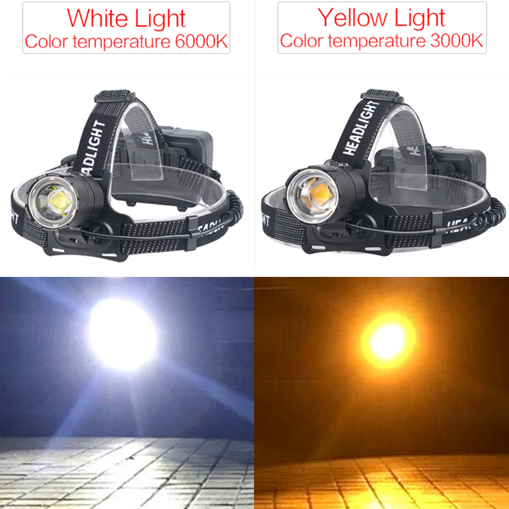 Image 4 - 120000LM XHP70.2 Led Headlamp XHP70 Most Powerful Yellow or White Led Headlight Fishing Camping ZOOM Torch Use 3*18650 batteries-in Headlamps from Lights & Lighting