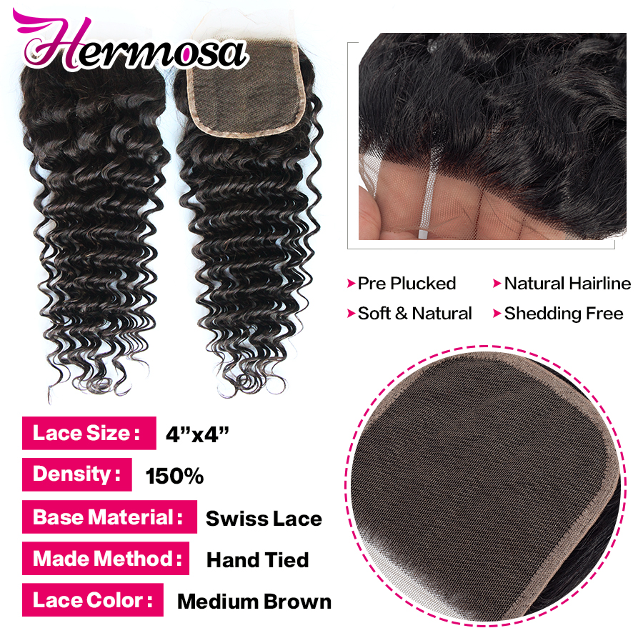 H5688c128e5534d909f3d3f7d014c9f7cS Hermosa Brazilian Deep Wave Bundles With Closure Double Weft Non-Remy Human Hair Bundles With Closure Natural Black Middle Ratio