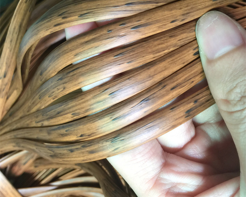 Wood Grain Color/brown Printing Gradient  Flat Synthetic PE Rattan Weaving Material Plastic Rattan For Knit And Repair Chair Ect