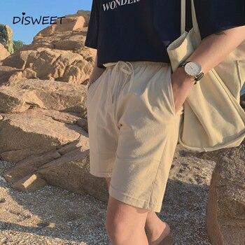 Pantalones cortos de verano con Cintura elástica de Encaje Coreano para hombre, de algodón Simple y lino, rectos, ajustados, con bolsillos, sólido corto y suelto para hombre
