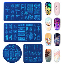 NICOLE DIARY Nail Art Stamp Plates Rectangle Flower Plants Natural World Stencil for Stamping Polish