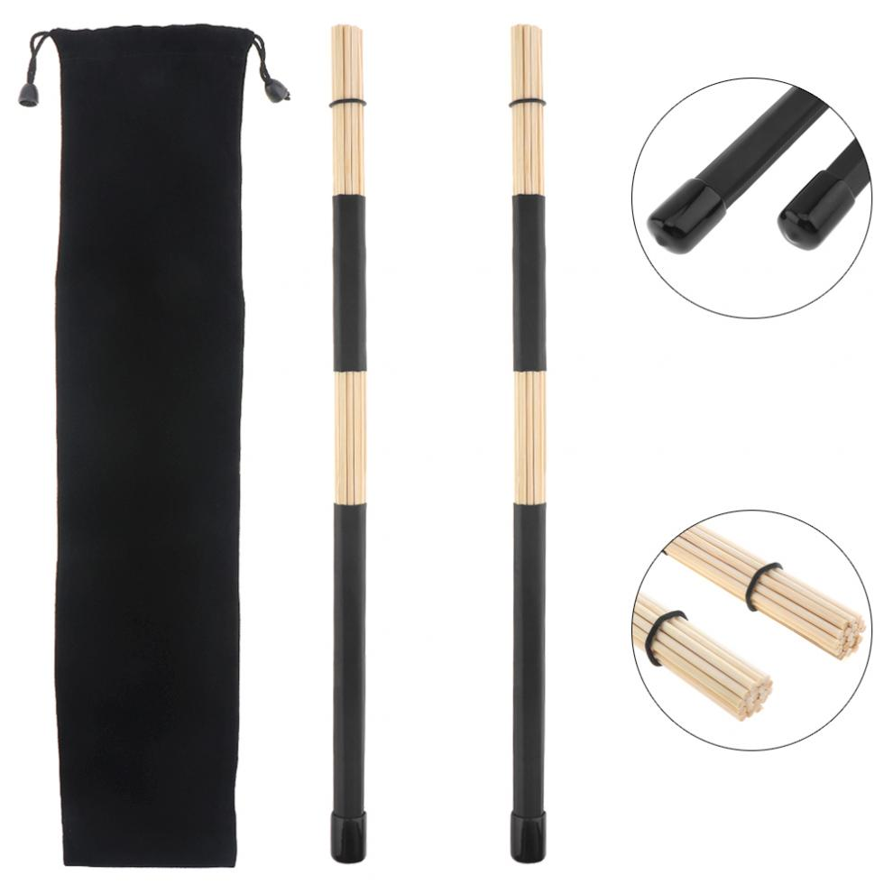 Drumsticks 1 Pair 40cm 15.7inch Jazz Drum Brushes Black Rubber Handle Bamboo Drumsticks With Velvet Bag