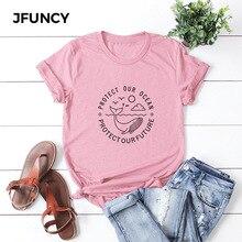 JFUNCY Plus Size Cute Whale Print T Shirt Women Oversize Summer T-shirts Female Cotton Short Sleeve