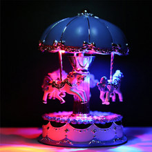 Music Box Craft Horse Ornament Clockwork Birthday LED Light Gifts Desktop Mechanism Umbrella Carousel Exquisite Valentine's Day(China)