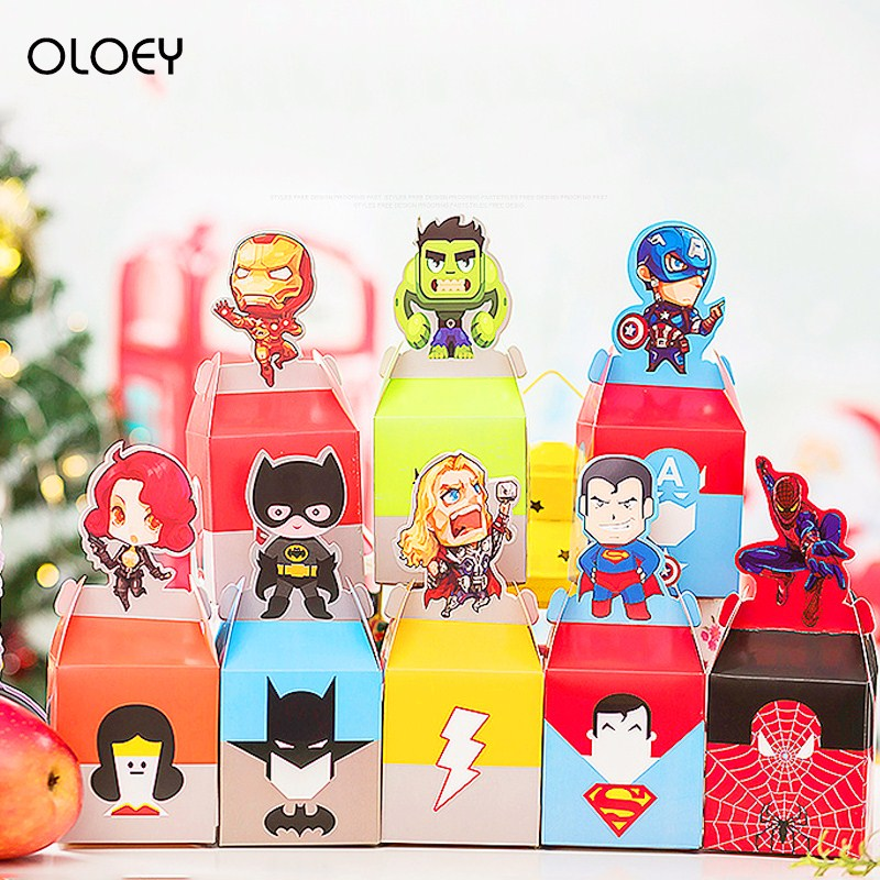 10pcs Cartoon Superhero Party Supplies Candy Box Baby Shower Kids Birthday Party Favors Gift Box Christmas Candy Apple Boxes