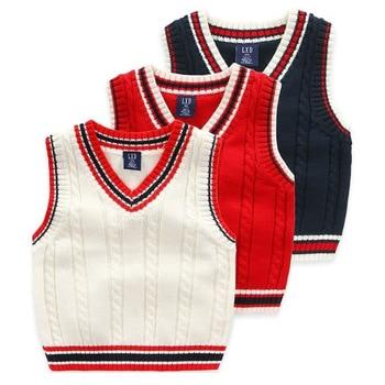 Autumn And Winter School Uniform Vest Boy Knitted Sweater Boy Sweater Autumn Children's Sleeveless Vest 1