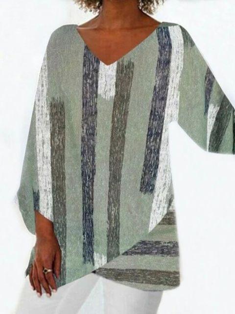 Women Casual Long Sleeve V-neck Striped Printed Irregular Hem Top Dress 1