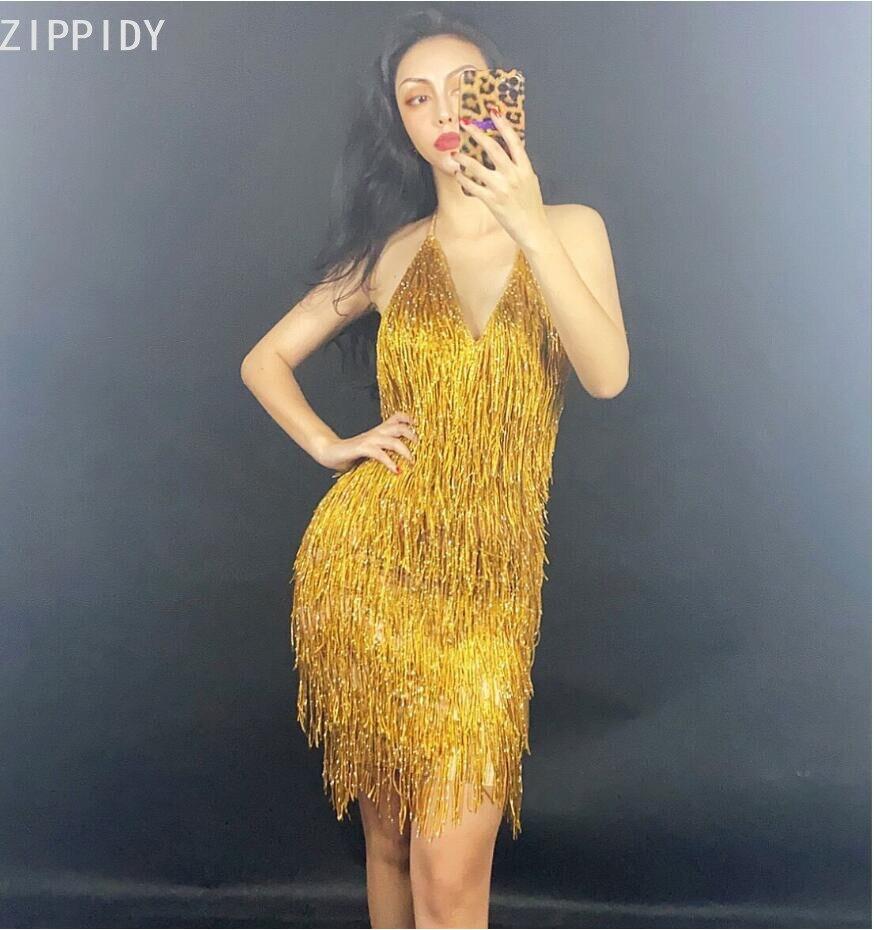 Gold Fringe Backless Spandex Short Dress Bar Prom Women Dancer DS Singer Outfit Birthday Celebrate Dress YOUDU