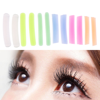 1 Bag (6 Pairs) Colorful Flat&Curl Eyelash Patch Reusable Silicone Pods Lashes Lifting Stickers Cilia Makeup