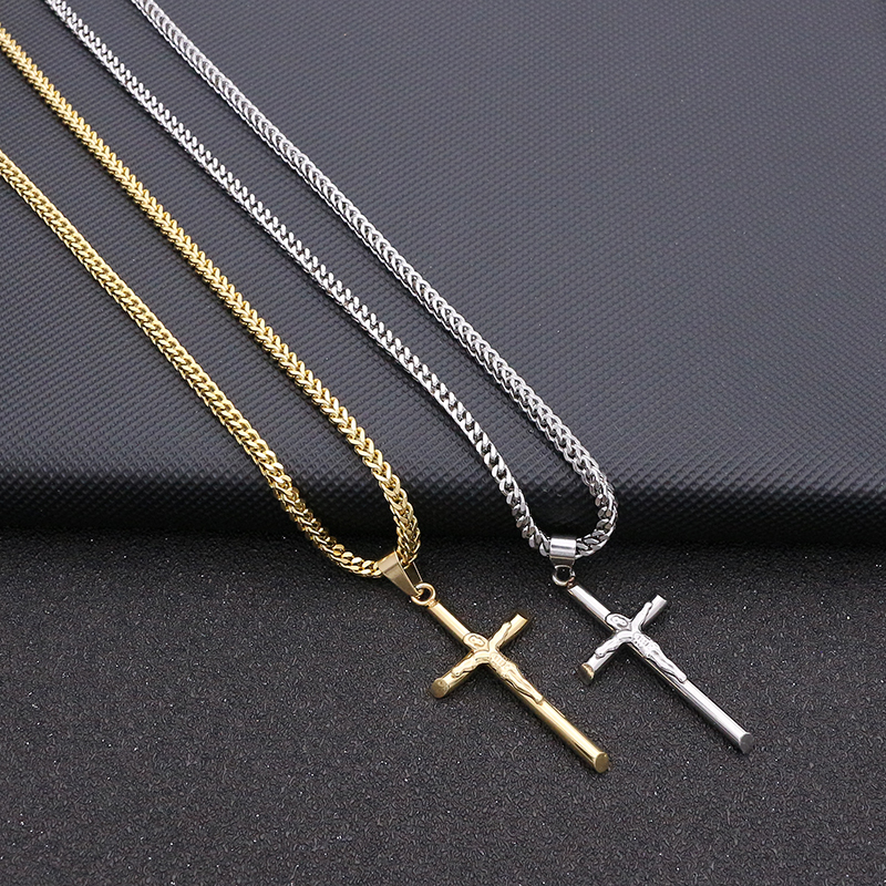 JSBAO High Quality Womens Cross Necklace Stainless Steel 60CM Chain Pendant Cross Gold Color Mens Necklace For Women Best Gift