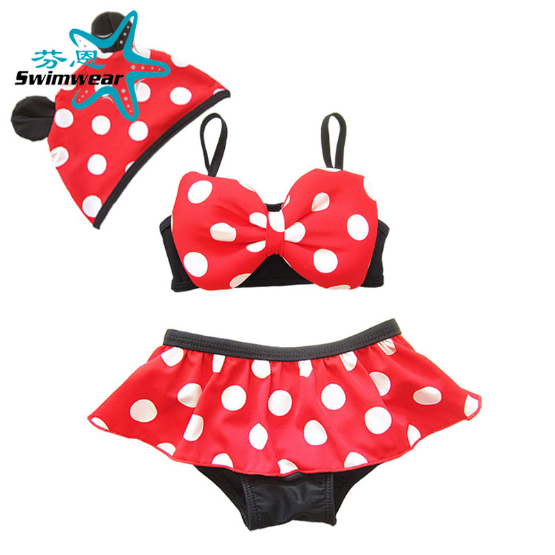 AliExpress Hot Selling Red Bottom White Dotted Bathing Suit Girls Baby BABY'S Bathing Suit Girl Swimwear