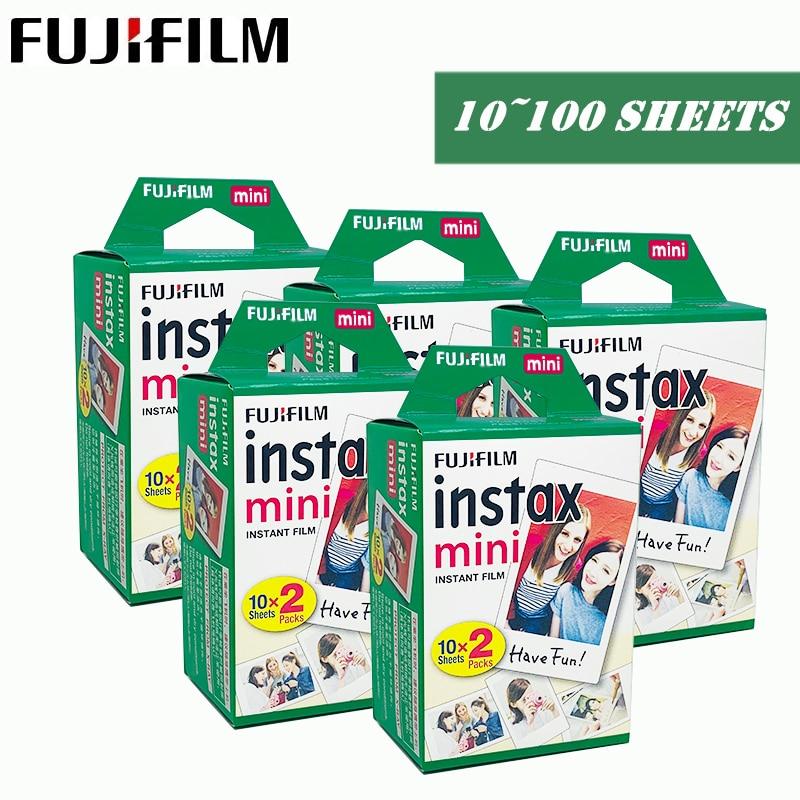 Fujifilm Instax Mini Film 10 20 30 40 50 60 100 feuilles 3 pouces pour mini 9 Polaroid FUJI appareil Photo instantané Mini 9 8 7s 70 90