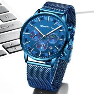 Image 5 - Mannen Horloges Relogio Masculino Crrju Top Luxe Merk Zakelijke Staal Quartz Horloge Casual Waterdichte Mannelijke Horloge Chronograaf