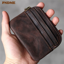 PNDME simple retro designer genuine leather card bag top layer cowhide luxury coffee small thin credit holder coin purses