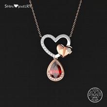 Shipei 100% 925 Sterling Silver Fine Jewelry Double Heart Water Drop Pendant Wedding Heart Necklace for Women Anniversary Gift