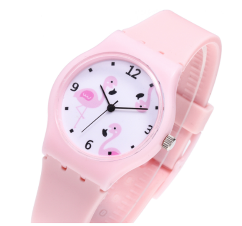 Silicone Candy Jelly Color Student Watch Girls Clock Fashion Flamingo Watches Children Wristwatch Cartoon Kids Quartz Watch