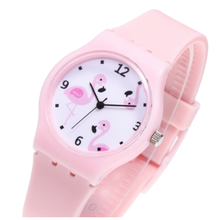 Silicone Candy Jelly Color Student Watch Girls Clock Fashion Flamingo W