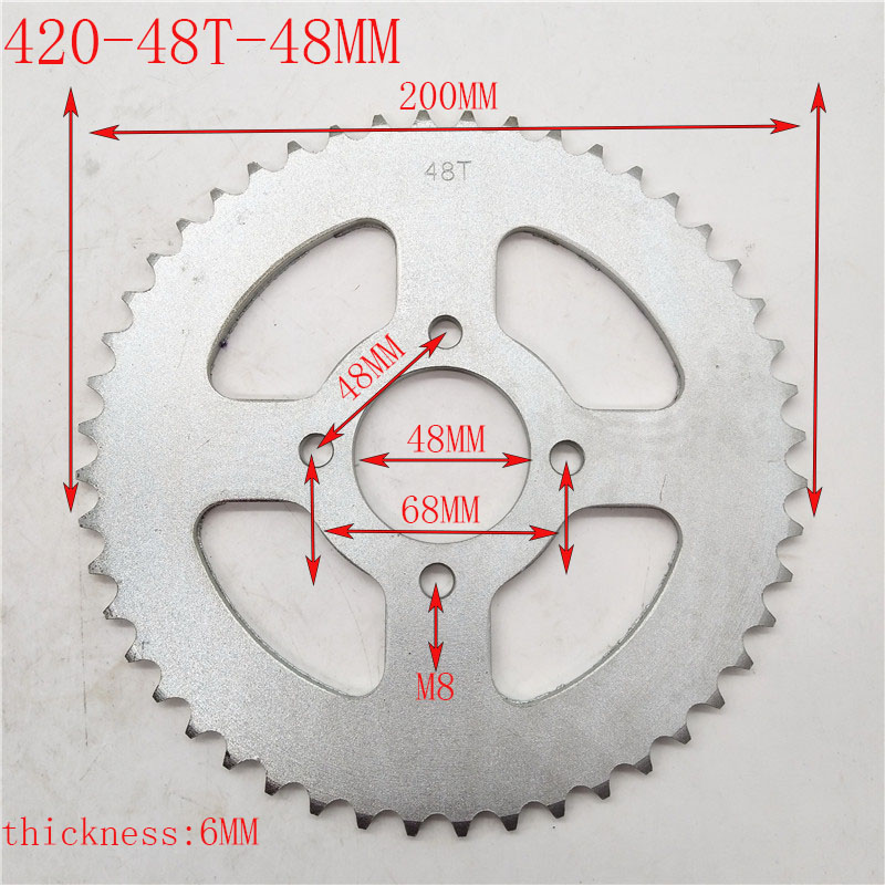 420 48Tooth 48mm Rear Chain Sprocket for Chinese ATV Quad Pit Dirt Bike Buggy Go Kart Motorcycle Motor