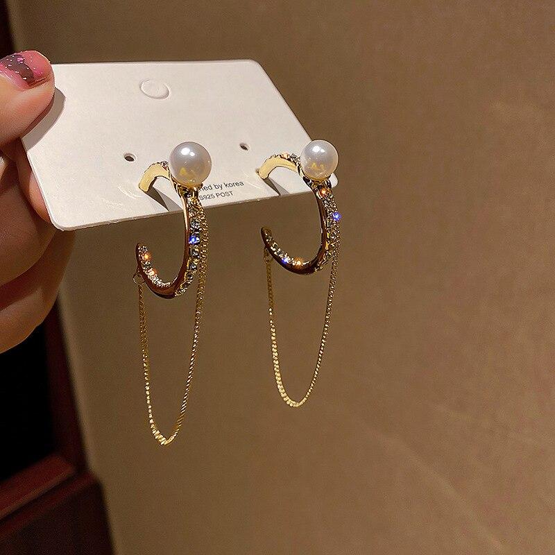 Simple Metal Tassels Chain Pin cross Pendant Earrings For Women Girls Geometric Personality Ear Circle Ear Jewelry