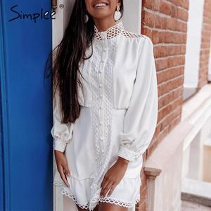 Image 5 - Simplee Streetwear 여성 흰색 드레스 긴 소매 프릴 중공 아가씨 여름 드레스 봄 기하학 랜턴 포켓 미니 드레스