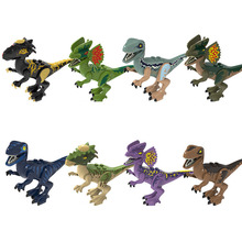 8pcs Assemble Building Blocks Jurassic Park Dilophosaurus Stygimoloch Velociraptor Dinosaur World  Models Toys for Children