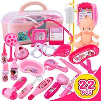 22PCS Funny Toys Doctor Play sets Simulation Medicine Box Pretent Doctor Toys Stethoscope Injections Children gifts