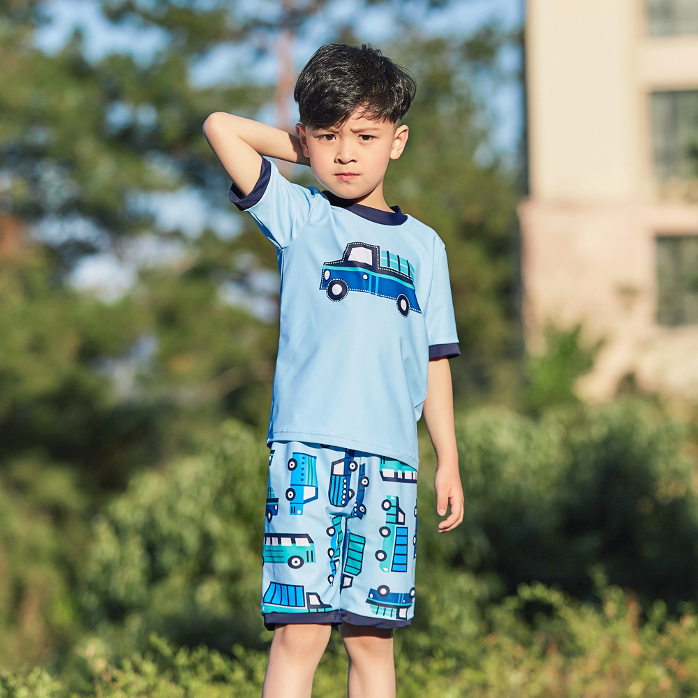 2019 New Style Hot Sales Split Type Two-Piece Tour Bathing Suit Short Sleeve Shorts Hot Springs Cartoon Car BOY'S KID'S Swimwear