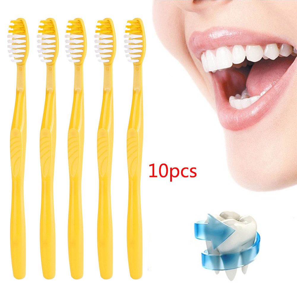 10PCS Portable Hotel Disposable Toothbrush with Toothpaste Kit supplies Convenient Plastic Camping travel wash gargle Tool image