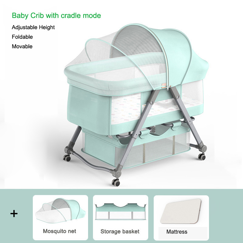 3 In 1 Baby Cribs Newborn Bed Foldable Cradle Baby Bassinet Portable Baby Cot Game Beds with Mosquito Net for Babe 0-36M