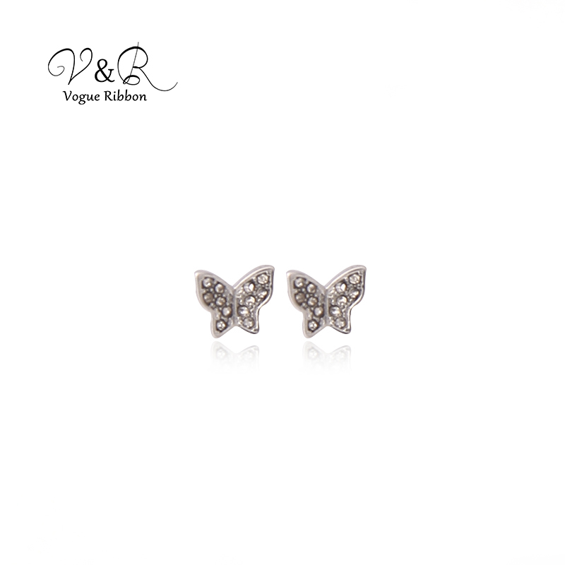 3 pairs a set, cute stud earring imitation rhodium plated, 1pair CZ stone stud, 1 pair pave stone butterfly   stud earring, 1 pa (3)