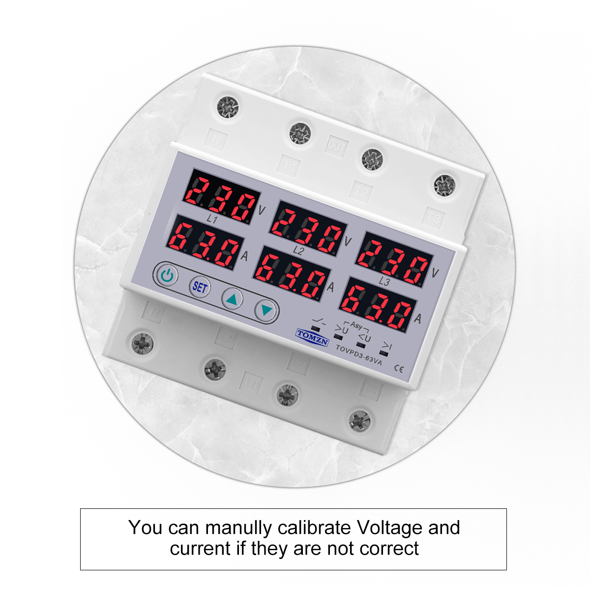 Din Rail 3 фазы Напряжение реле 380V Вольтметр Амперметр и имеет более тонкий Напряжение монитор реле протектор регулировки тока более Напряжени...