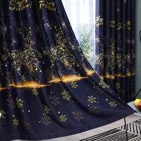 Cortinas da janela para sala de estar starlight fawn impressão tule quarto cortinas blackout para sala crianças cortina decoração casa