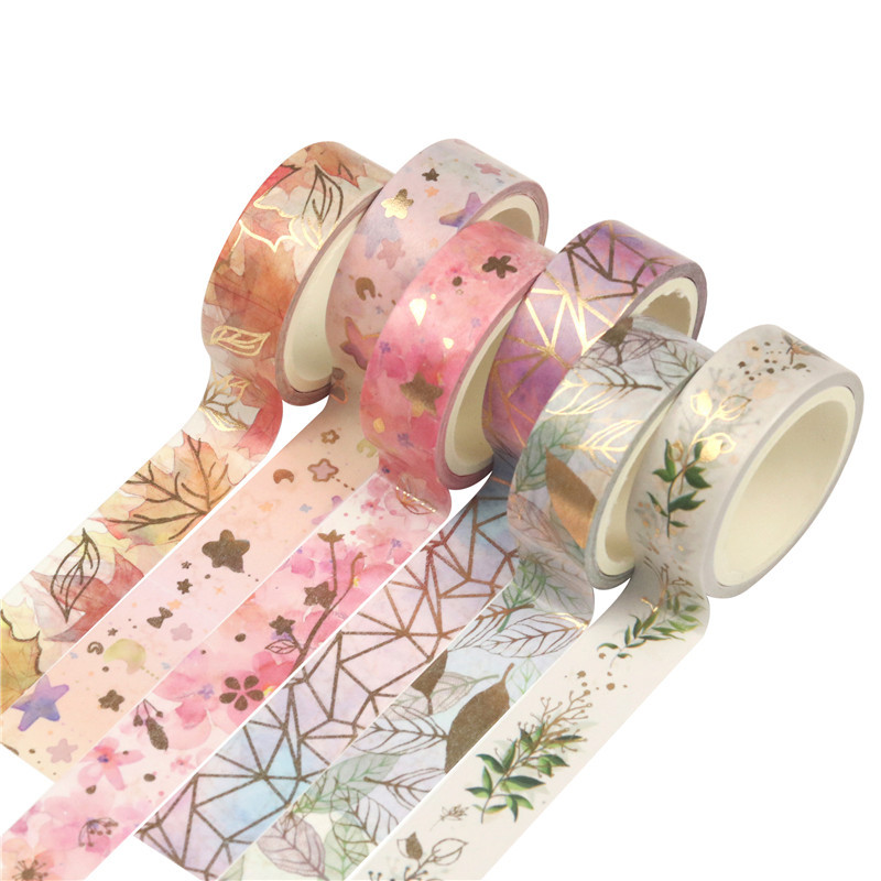 6 Pcs/Set Washi Tape Kawaii Masking Tape Flower Stationery Hot Stamping Scrapbooking Cinta Adhesiva Decorativa Washitape