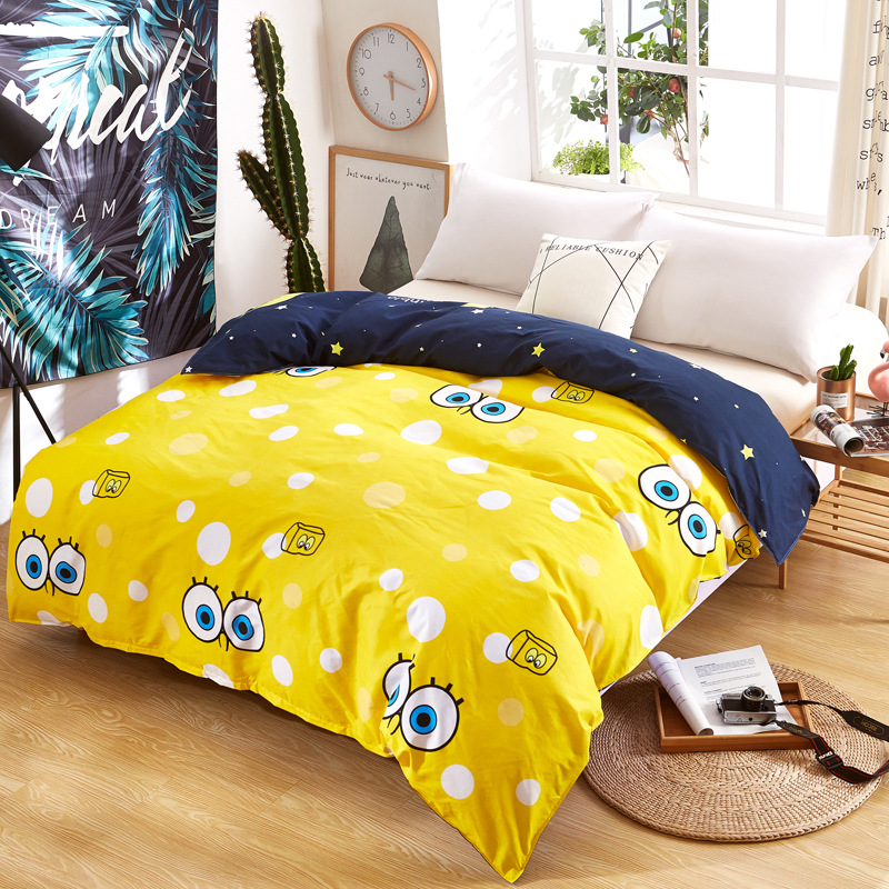 2019 Cartoon Yellow Big Eye Duvet Cover Polyester Cotton Children Cotton Comforter Cover Twin Full Queen King Double Single Size