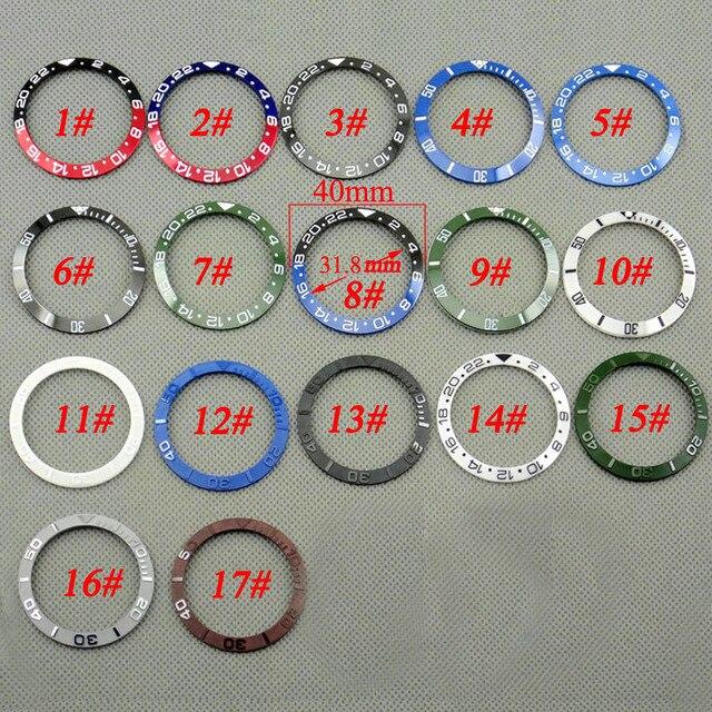40 ミリメートル赤黒青緑セラミック/チタンベゼルカバーのためフィット 43 ミリメートル gmt submariner 男性の自動時計